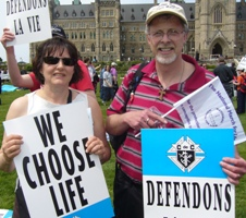 Guy and Christine Dacquay joined 12,500 pro-lifers on Parliament Hill.