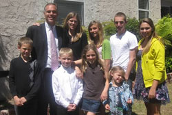 Christopher Kaczor with his wife, Jennifer, and their seven children.
