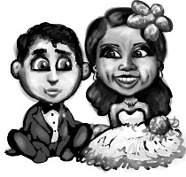 This illustration by Richard Valenti appeared in the couple's wedding program.